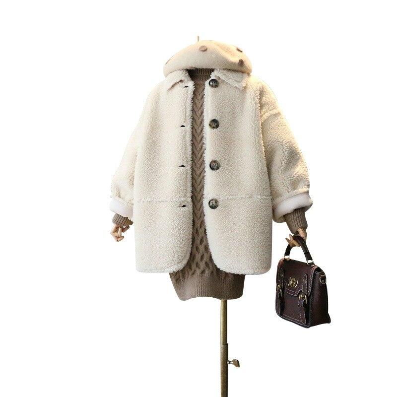 Girl's Coat Long Lamb Velvet Fur One-piece Coat Winter Wear New Children's Clothing Girls' Lambs Coat Fashion Medium Length Coat