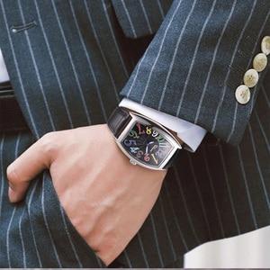 Image 5 - Fashion Luxury Brand Square Watch Men Tonneau Waterproof Business Quartz Leather Wrist Watch for Men Clock Male erkek kol saati