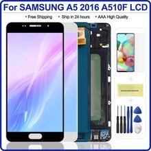 5.2 サムスンA5 2016 lcdディスプレイA510 A510F A510M SM A510Fタッチスクリーンデジタイザ三星A5 a510黒/白