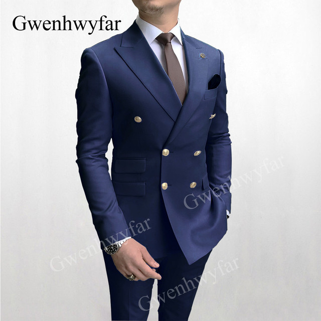 Gwenhwyfar Sky Blue Men Suits Double Breasted 2020 Latest Design Gold Button Groom Wedding Tuxedos Best Costume Homme 2 Pieces 2