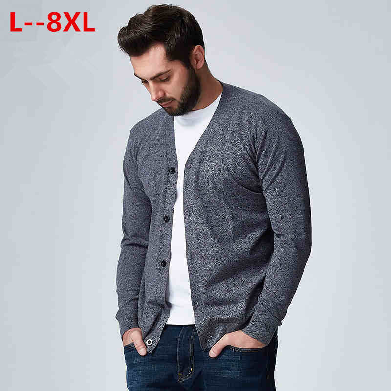 10XL 8XL 6XL 5X Autumn Men Sweater Casual Button V-neck Sweaters Long Sleeve Cotton Knit Cardigan Slim Fit Pull Homme Multicolor