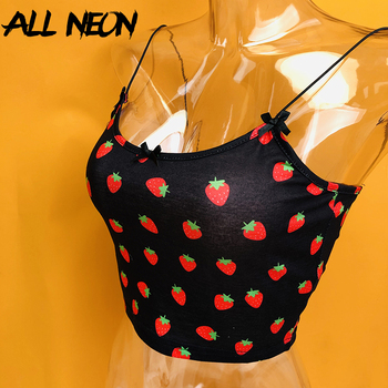 ALLNeon Kawaii Pink Cropped Camis Tops Spaghetti Strap Strawberry Print Summer Crop for Women Vintage Sweet Ladies Tanks