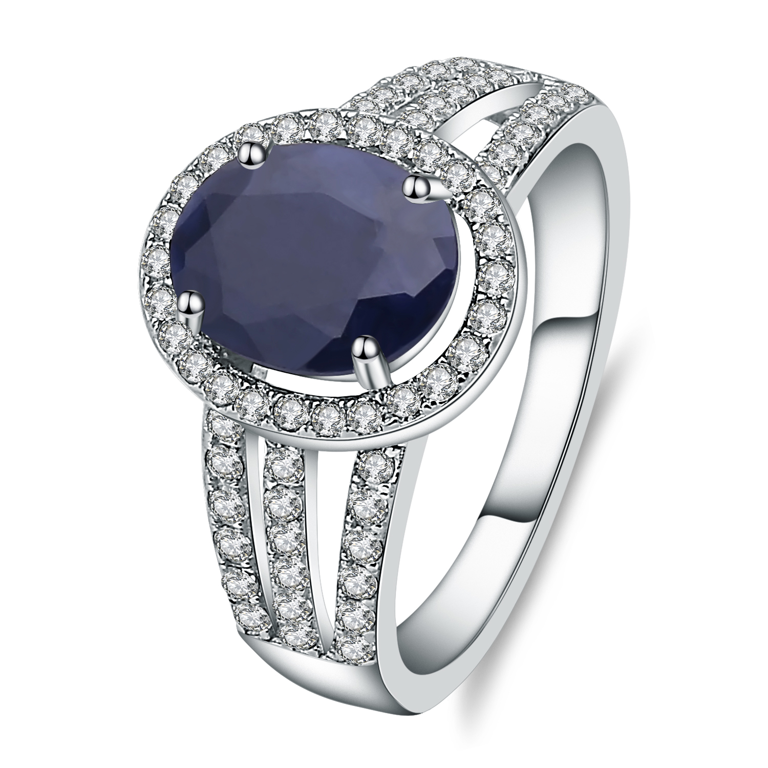 Gem's Ballet 2.02Ct Natural Blue Sapphire Gemstone Wedding Engagement Ring 925 Sterling Silver Fine Jewelry For Women
