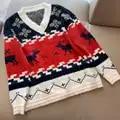 Winter V ausschnitt Pullover frauen Lose Dick Weihnachten Pullover Pullover Casual Langarm Pullover