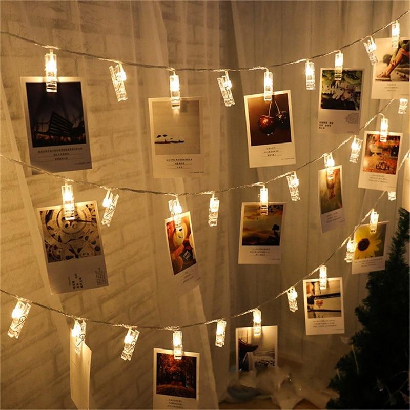 Estacas luzes da corda led clipe cartões fotos titular brilhante luzes de fadas natal festa de aniversário do casamento decoração do dia dos namorados