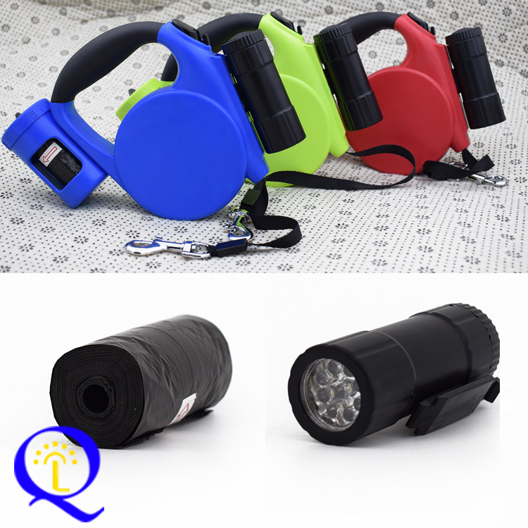 LED Multi-functional Automatic Flexible Tractor Light Included With Garbage Bag Portable Dog Traction Rope