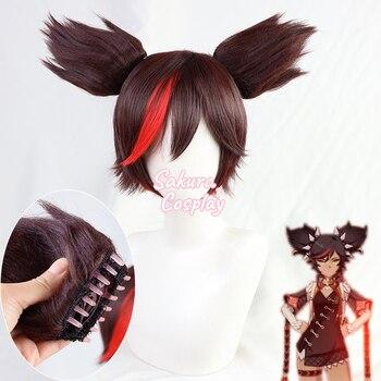 Gra Genshin Impact Xinyan Cosplay krótka brązowa mieszana czerwona żaroodporna włosy syntetyczne Halloween Carnival Party + czapka z peruką + uszy