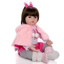 KEIUMI Adorable Silicone Reborn Baby Girl Doll 48cm Charming Reborn Boneca Rabbit Toddler Wear cloak For kids Birthday Playmate