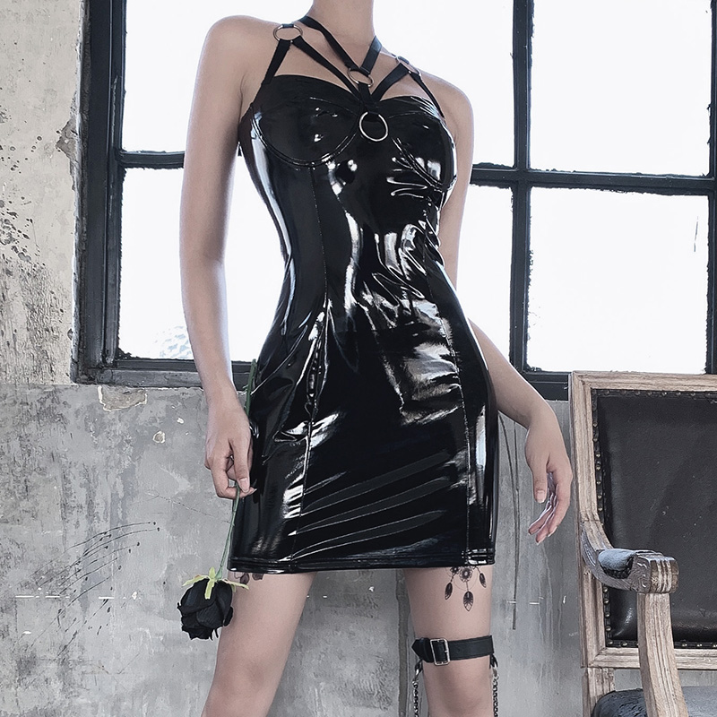 InsGoth Sexy Leather Bodycon Mini Dress Women Gothic Bandage Halter Hollow Out Black Female Party Dress Vintage PU Leather Dress 1