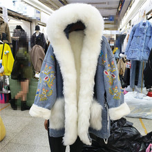 Parka Vintage Fur-Coat Hooded Overcoat-Plus Thick Long-Design Women's Winter Warm Embroidery