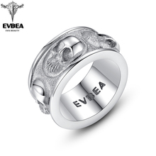 EVBEA  Matte Finish Five Skull Band Rings for Men Wrinkle Rock Roll Gothic Punk Style Bikers Bible Mens & Boys Jewelry