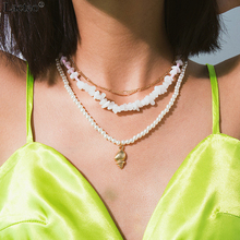 Lacteo Bohemian Multi Layer Golden Conch Shell Pendant Necklaces Women Fashion Pearl Collar Chain Choker Necklace Female Jewelry lacteo 2pcs set bohemian natural conch shell choker necklaces for women statement white bead chain necklace female jewelry gifts