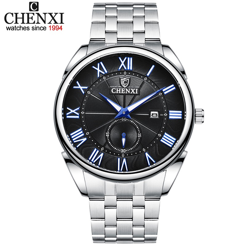 CHENXI New Fashion Mens Watches Top Luxury Brand  Full Steel Quartz Waterproof Watch Business Men Date Calendar Wristwatch