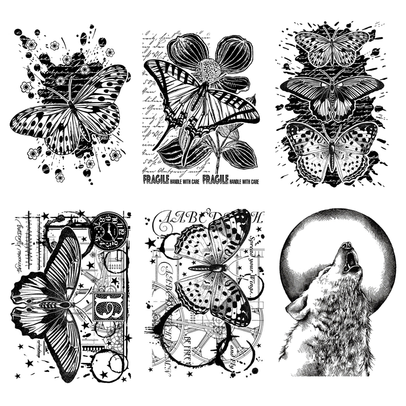 11x14 CM 2020 DIY New Clear Stamps For Scrapbooking And Card Making Butterfly and Wolf HD Natural Clear Stamp Account Craft Set