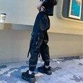 Брюки-карго женские в Корейском стиле, свободные штаны в стиле Харадзюку, комбинезон для девушек, уличная одежда в стиле хип-хоп, брюки, женс...