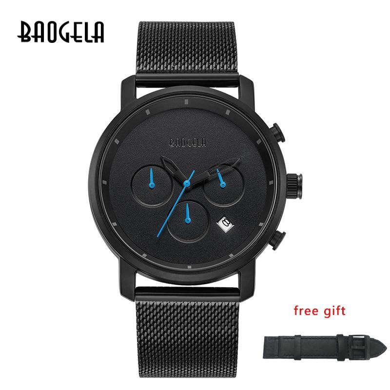 BAOGELA Multifunction Chronograph Fashion Casual Watch Analog Quartz Waterproof Calendar Date Wrist Watch in Quartz Watches from Watches