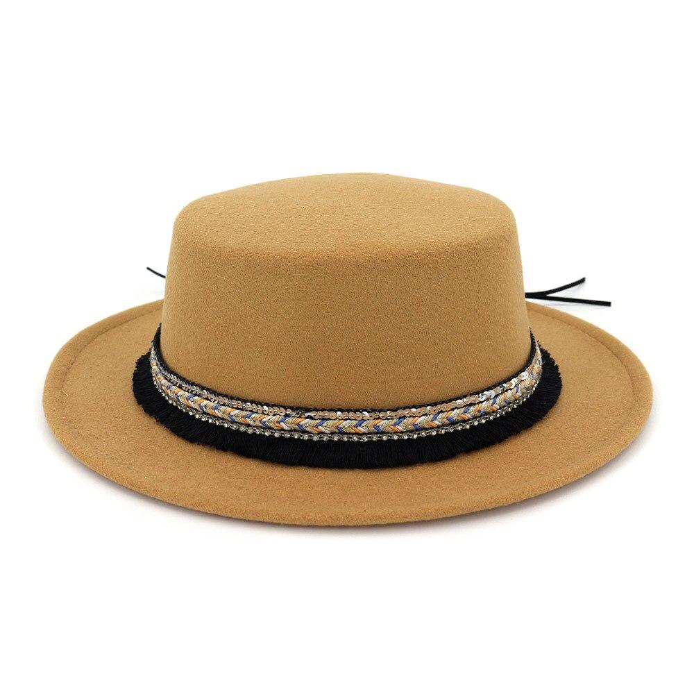 Vintage Wool Felt Wide Brim Fedora Trilby Hat Women Men Floppy Panama Cap