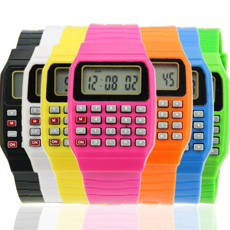 Fad Children Silicone Date Multi-Purpose Kids Electronic Calculator Wrist Watch AXYF