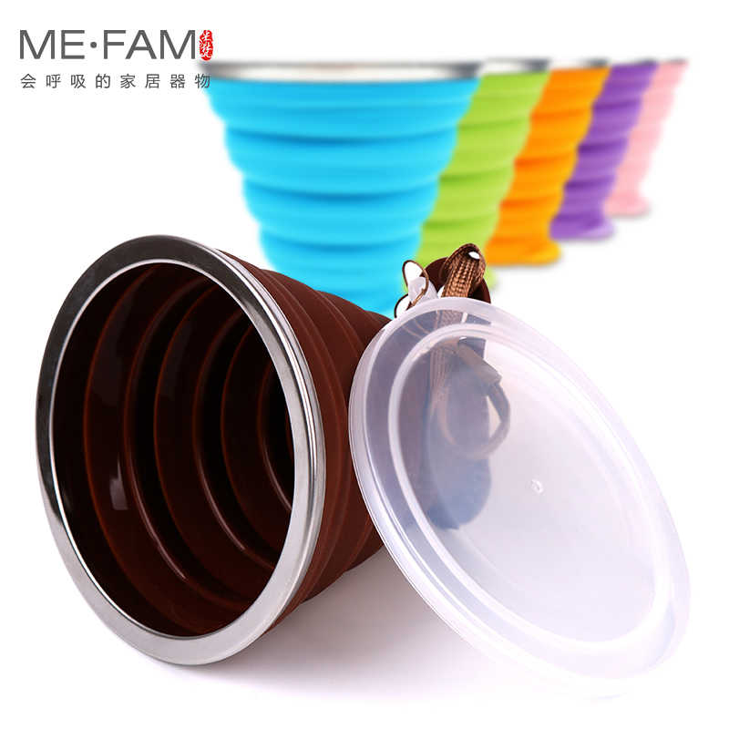 Ultra-thin Silicone Folding Cup + Dstproof Cover Outdoor Coffee Cups Children Available Travel Copa Telescopic Sport Water Cup