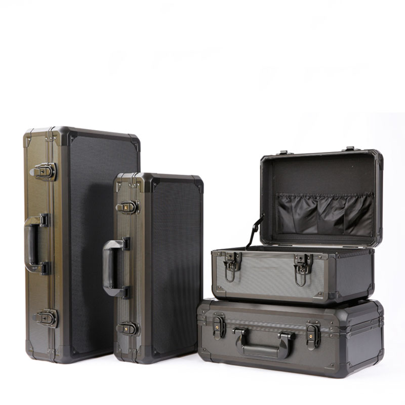 Aluminum Alloy Toolbox Impact Resistance Safety Box Instrument Case Suitcase Fish Rod Model Case With Shockproof Sponge