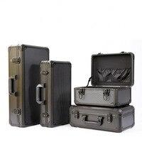 Caja de Herramientas de aleación de aluminio resistente a impactos, caja de instrumentos de seguridad, Maleta, modelo de caña de pescar, funda con esponja a prueba de golpes
