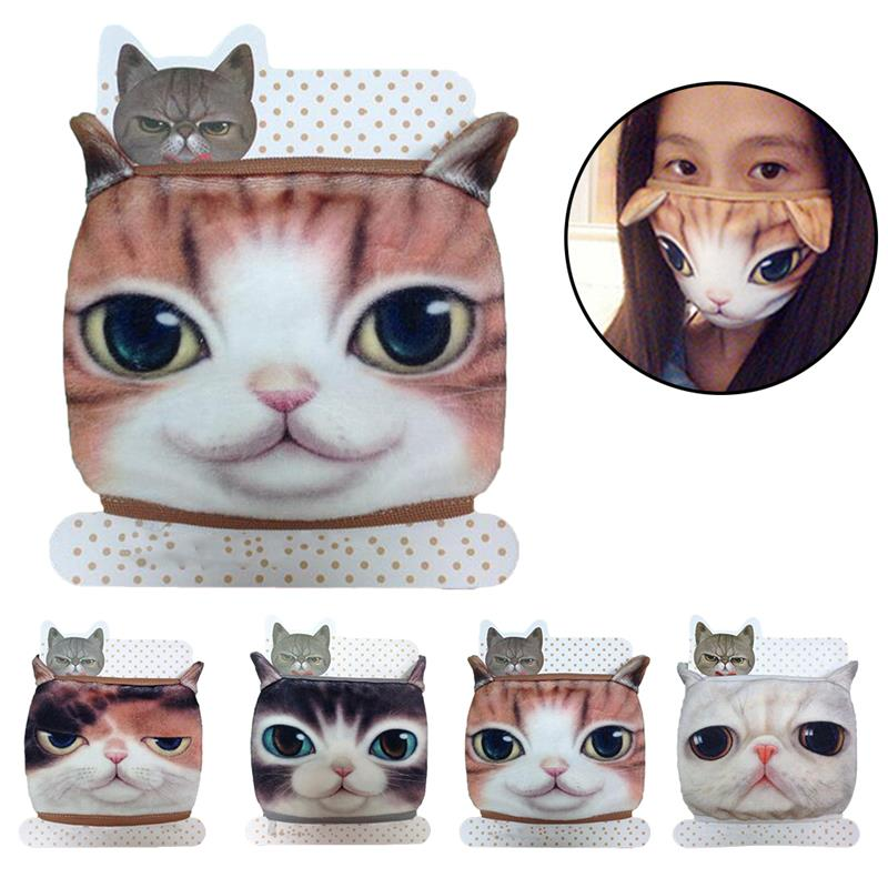 Cute Cotton Masks Cartoon Animal Printing Mouth Mask Creative Breathable 3D Cat Pattern Cotton Mask Facial Mouth Cover