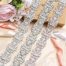 MissRDress Hochzeit Gürtel Braut Gürtel Silber Kristall Hand Perlen Strass Pailletten Hochzeit Schärpe Für Braut Zubehör JK807