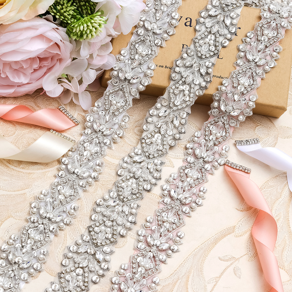 MissRDress Wedding Belt Bridal Belt Silver Crystal Hand Beaded Rhinestones Sequin Wedding Sash For Bridal Accessories JK807
