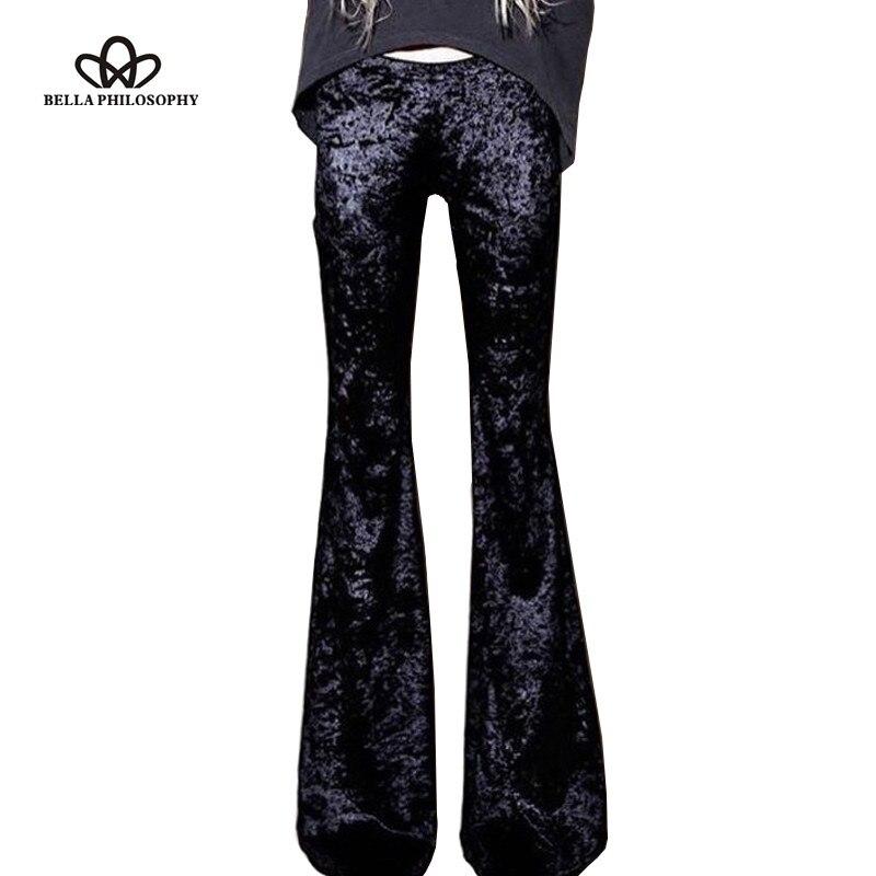 Bella filosofia primavera retro silm cintura alta veludo flare calças elásticas vintage pant feminino outono calças compridas