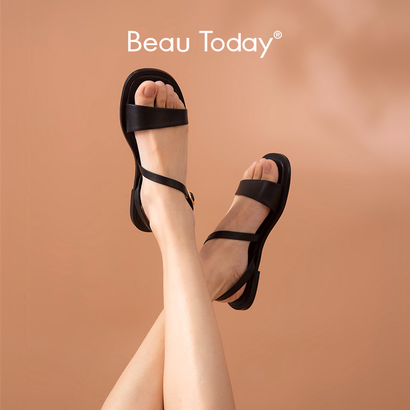 BeauToday Gladiator Sandals Women Calfskin Genuine Leather Back Strap Rome Style Summer Female Beach Flat Shoes Handmade A32182