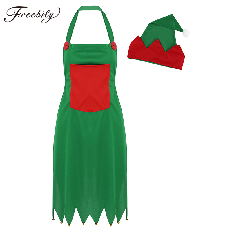 Women Men Cute Elf Christmas Apron Fairy Apron With Santa Hat Set Festival Kitchen Aprons Adult Fancy Cosplay Party Costume