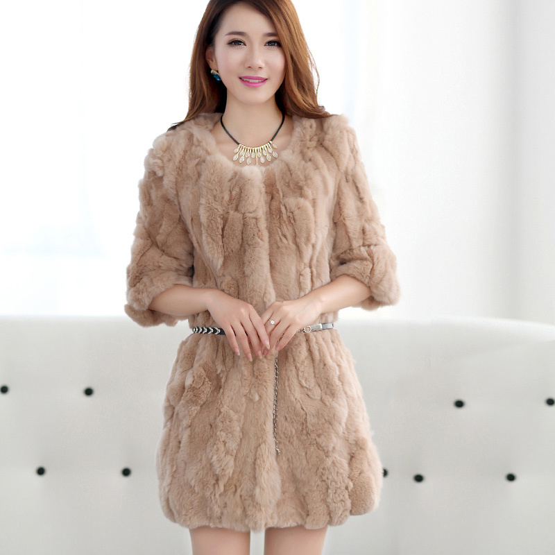 Real Rex Rabbit Fur Coat Female 2020 Fashion Long Warm Winter Jacket Women O-Neck Natural Fur Coats Outerwear WYQ1614