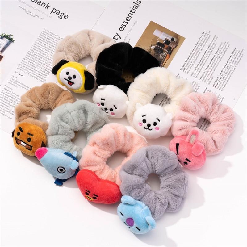 Новинка корейский стиль Kpop Bangtan Boys Koala оптовая продажа женская зимняя бархатная резинка для волос эластичная резинка для волос женская одеж...