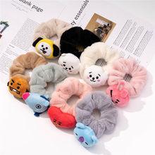 Novo coreano kpop bangtan meninos koala atacado feminino inverno veludo scrunchie elástico laço de cabelo corda menina hairwear grande corda de cabelo
