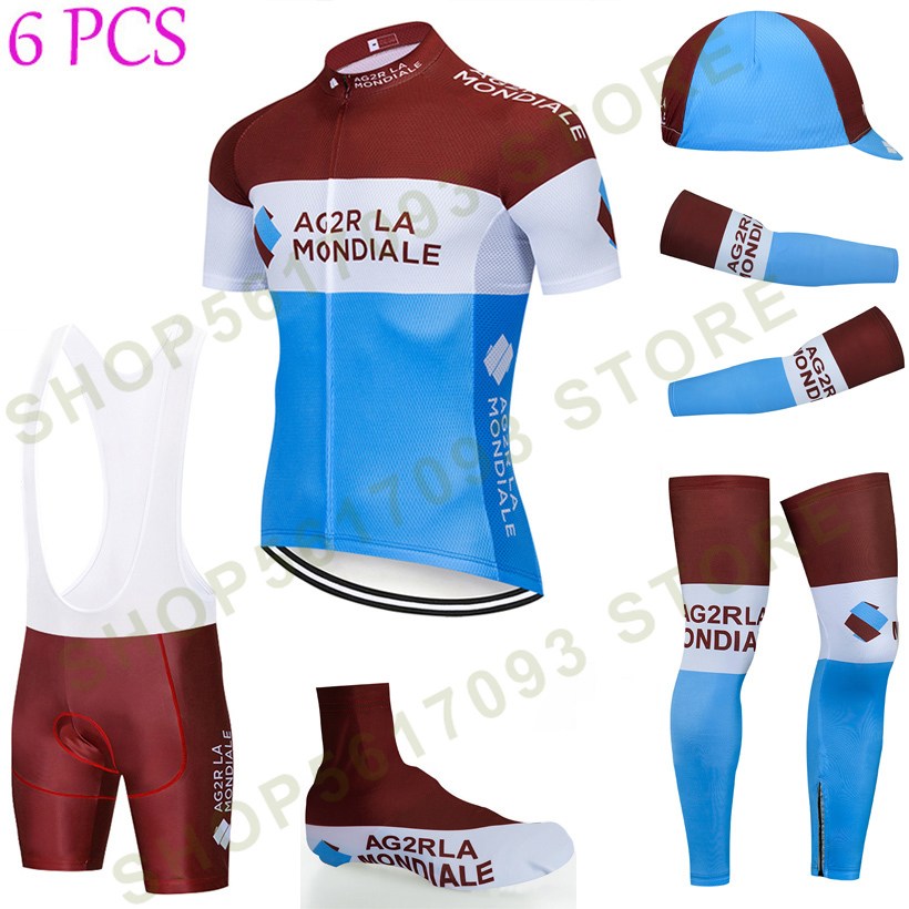 2020NEW Cycling Full Set AG2R TEAM Bike Jersey Breathable Men Ropa Ciclismo Cycling Jerseys 20D Bike Shorts And Sleeve Warmers