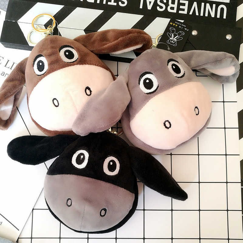 New Style Fragrance Plush Little Donkey Purse Cartoon Mini Couples Doll Pendant Cute Adorable Women's Zip Card Package