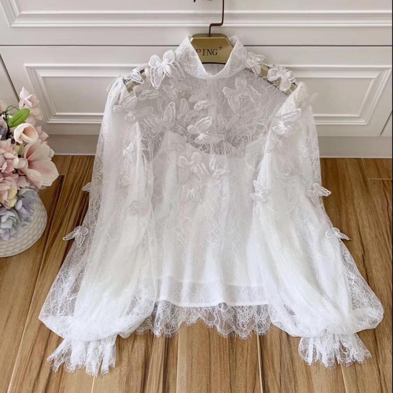 Red RoosaRosee дизайнерская Осенняя женская элегантная белая кружевная рубашка со стоячим воротником вышивка аппликация длинный рукав фонарик б...