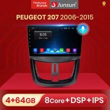 Junsun-راديو السيارة Android 10 ، 4 gb/64 gb ، نظام الملاحة GPS ، Bluetooth ، 2 din ، مشغل ستيريو ، بدون dvd ، لسيارة بيجو 207 (2006-2015)