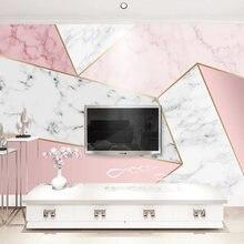 Настенные 3d обои на заказ Розовые Геометрические Мраморные