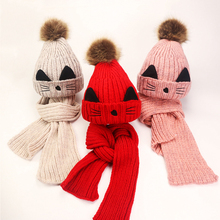 купить 2Pcs/Set Cute Baby Hats Scarf Knitted Wool Newborn Turban Beanie Warm Caps Soft Hat For Girls Boys Elastic Bonnet Autumn Winter дешево
