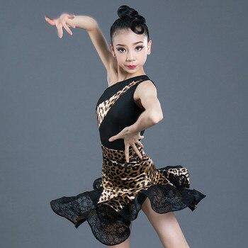 New Latin Dance Dress Girls Summer Professional Training Exercise Clothing Leopard Print Performance Wear