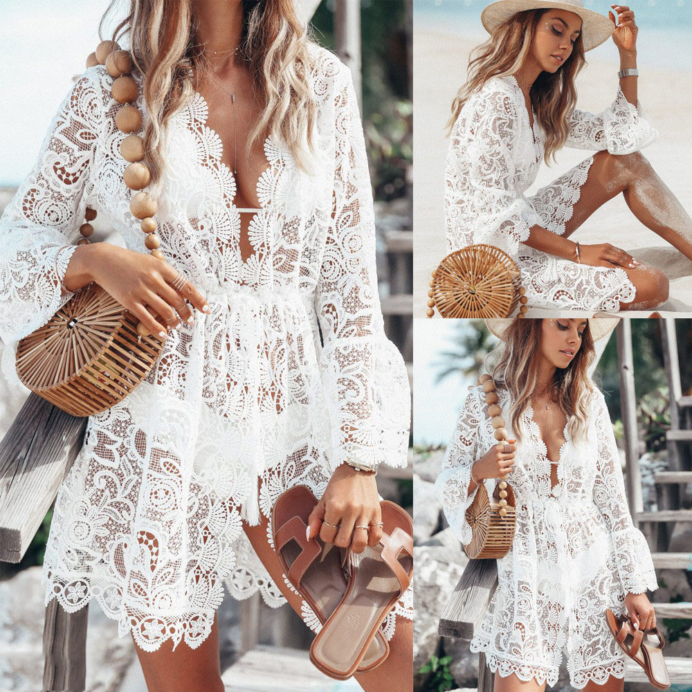 Women Bikini Cover Up 2019 Beach Dress Summer Tunic Hot Floral Lace Hollow Crochet Swimsuit Cover-Ups Bathing Suit Beachwears