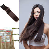 Buqi 24'' Long Straight Synthetic Hair Extensions Clip High Temperature Fiber Black Hairpiece for Women Adult Hair Accessories