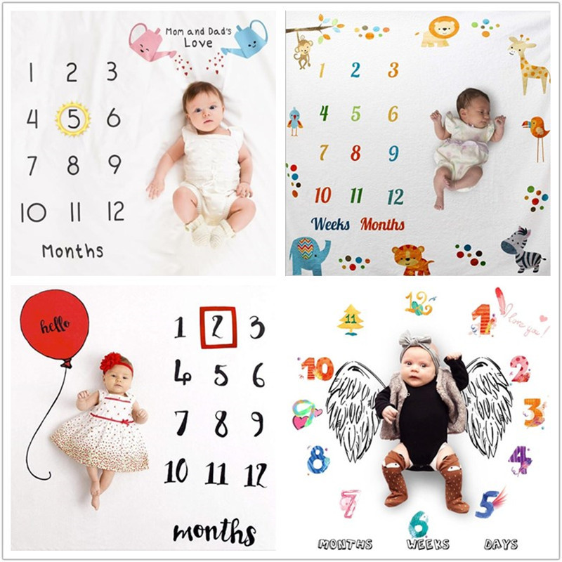 100*100CM Cartoon Baby Milestone Photo Props Background Blankets Play Mats Backdrop Cloth Calendar Photo Accessories