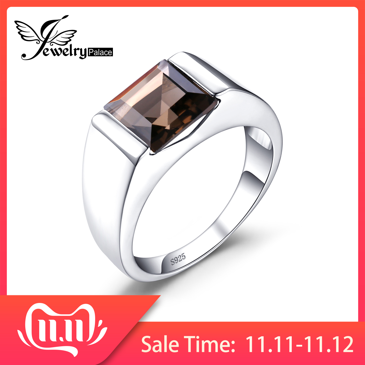 JewPalace Genuine Smoky Quartz Ring 925 Sterling Silver Rings For Men Wedding Rings Silver 925 Gemstones Jewelry Fine Jewelry