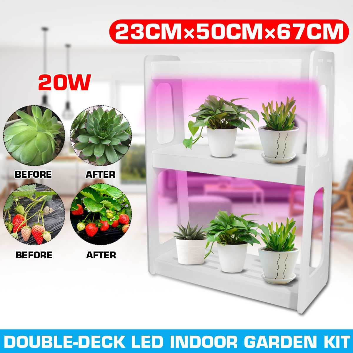 US/EU 20W LED Full Spectrum High Efficiency Grow Lighting System Flowerpot Plant Shelf With Plant Lights Indoor Flower Rack