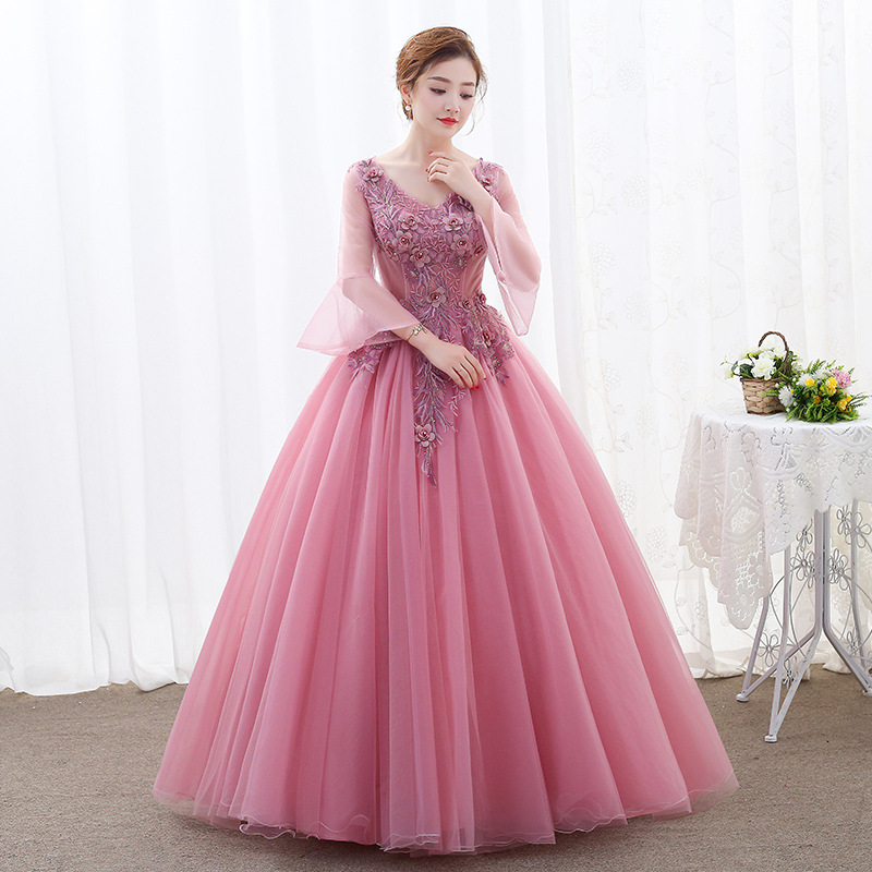 Image 3 - Lace Quinceanera Dresses Ball Gown Long Sleeve Tulle Prom  Debutante Sixteen 15 Sweet 16 Dress Quinceanera KleidQuinceanera  Dresses