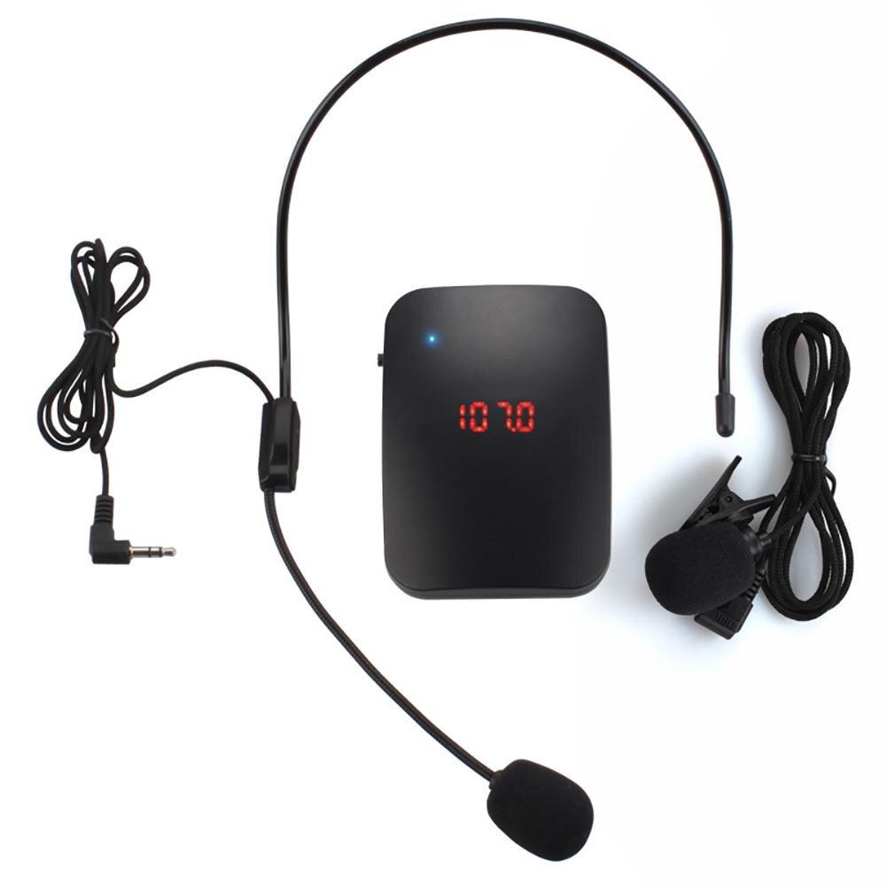 Microfone sem fio transmissor de rádio fm fone de ouvido colar guia turístico clipes-no microfone