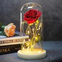2019 Dropshipping di Bellezza E La Bestia Rosa Rossa In UNA Cupola di Vetro Con La Luce del LED Base In Legno Per san valentino regali di Giorno della madre