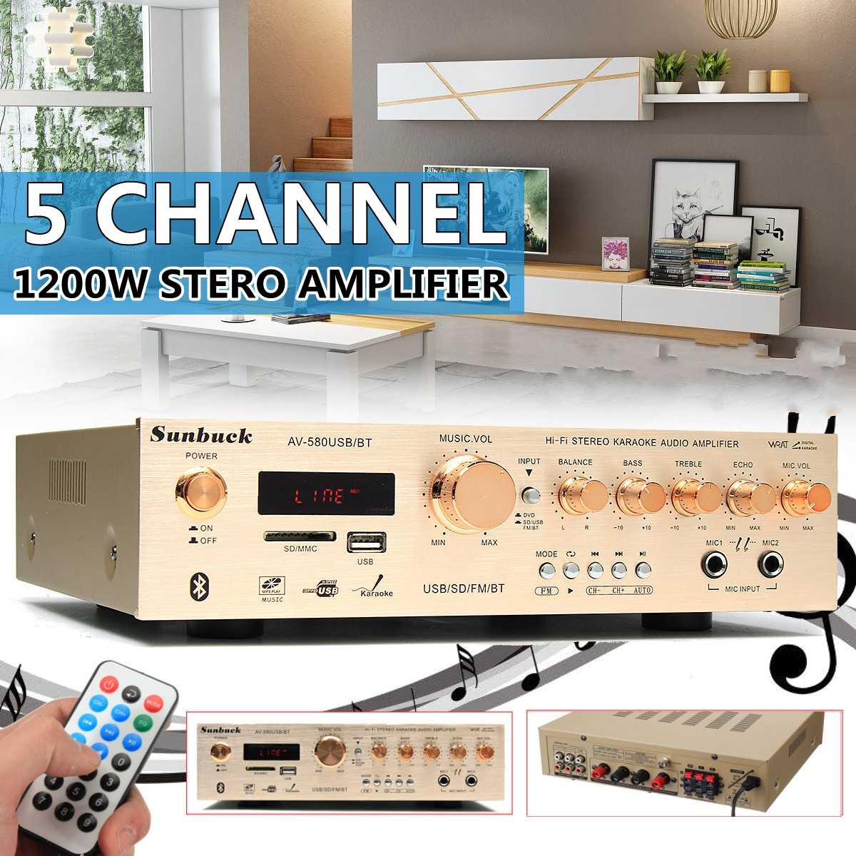 1200W Sunbuck Surround Amplifier 5.0 Bluetooth 5CH Amplifier Support FM Radio USB SD Card Dual Micro Input Karaoke Amplifiers
